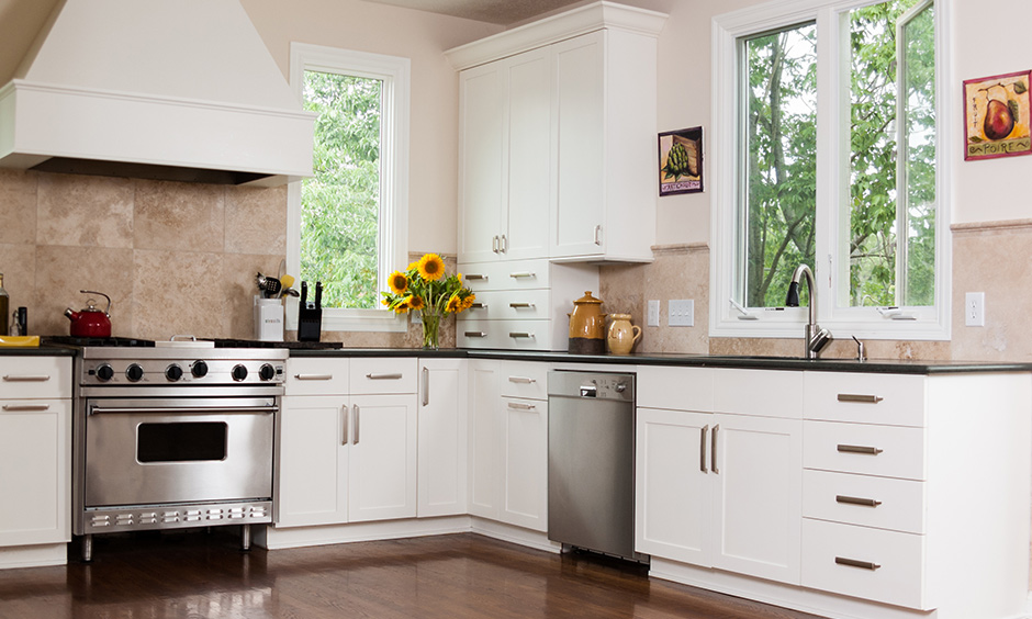Kitchen room decoration and vintage decor with ceramic or tile paintings all over your cooking space