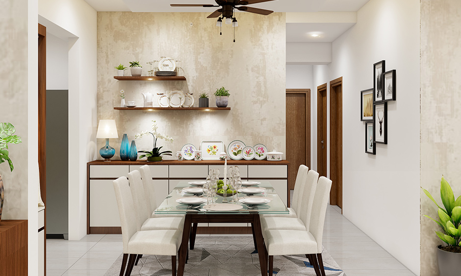 Interior design company in Bangalore dining room designed with earthy and neutral colours like brown and whites