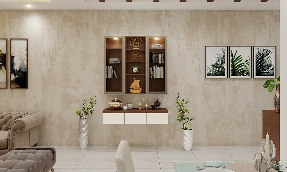 Living room wall-mounted personalised bookshelf interior designers in Bangalore