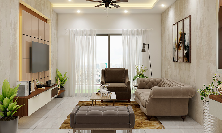 3BHK Flat Living room backlit TV unit along with textured wooden laminate interior decorators in Bangalore