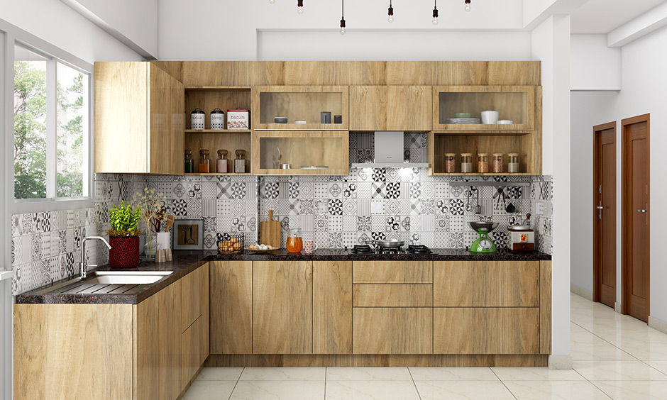 Small kitchen decor with in indie kitchen style with a patterned backsplash