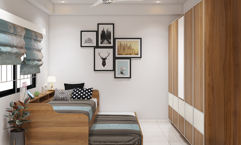 Teenage bedroom interior design in Bangalore with trundle bed can be extended and designed to provide extra space