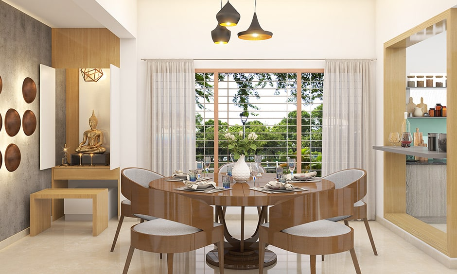 Modern round dining table design with 4 seater round dining table