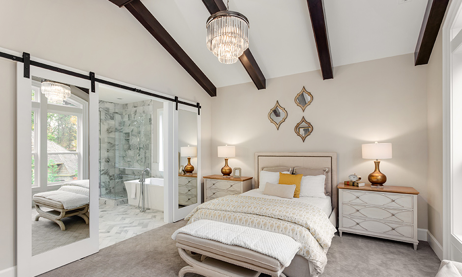 White ceiling with wooden streaks are a magical combination minimalistic modern bedroom ceiling designs