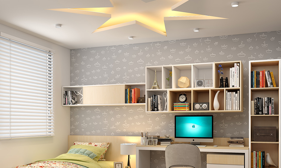 Star-shape modern bedroom ceiling pop design paired with subtle mood lighting and makes it soothing decor highlight