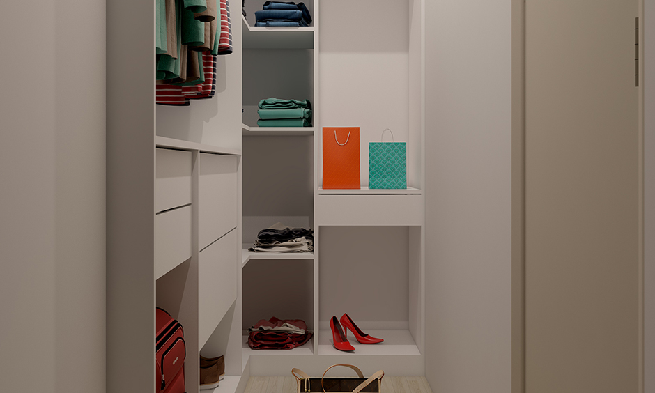 Dressing cupboard for small spaces with smart walk-in-closet