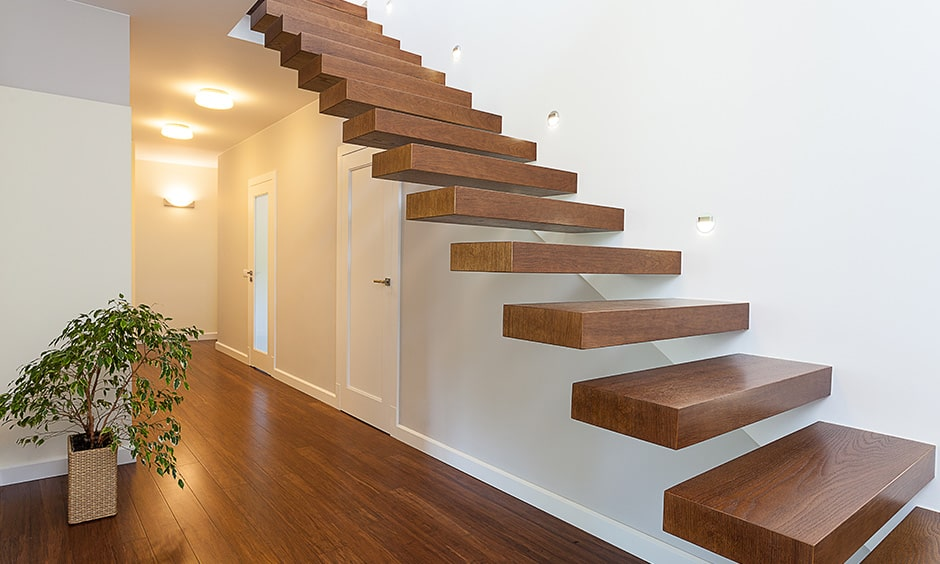 Wooden staircase design in classic and modern style makes floating wooden staircase