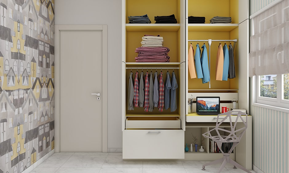 Minimal closet design is a clean and trendy closet design idea for small indian homes
