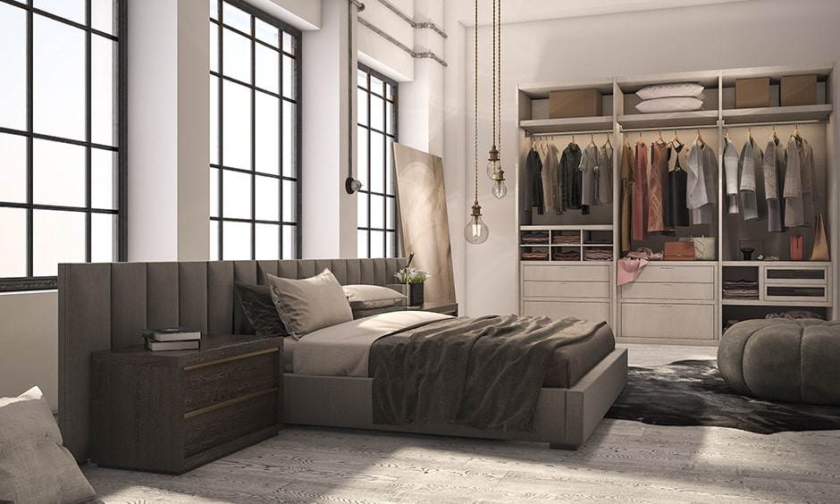 Modern closet design with a mix of open spaces, drawers and separators