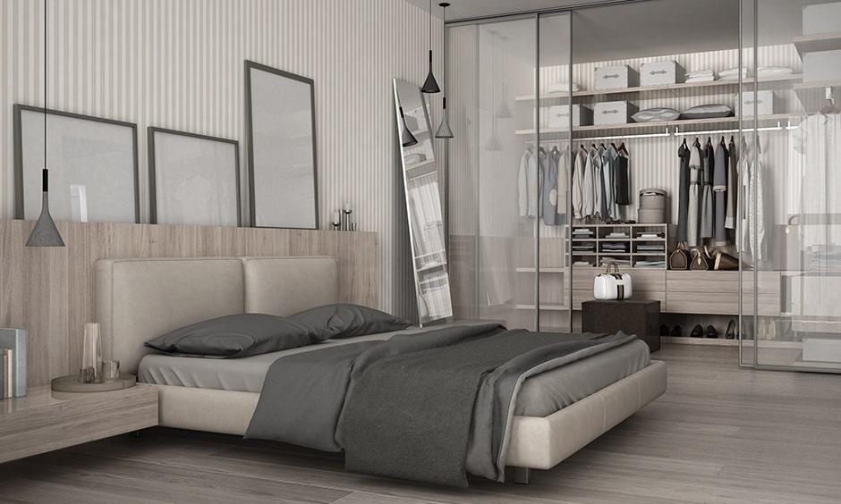 Vanity closet design ideas with glass doors and fiber panels