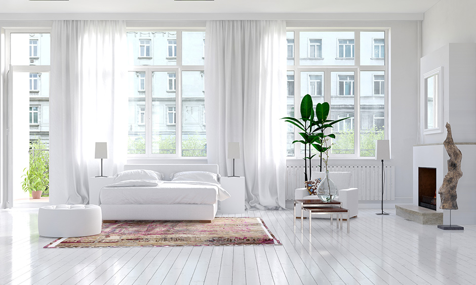 Mesmerising white curtain design for living room looks well lit, dreamy and sublime