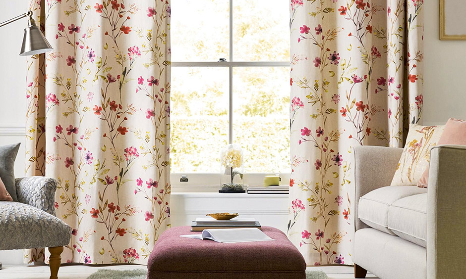 Floral pattern latest curtains for living room looks premium and rustic