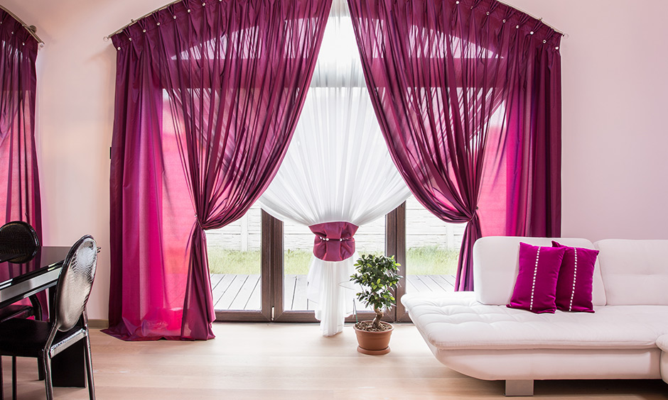 Lavish pink decorative curtains for living room make you fall in love with life all over again