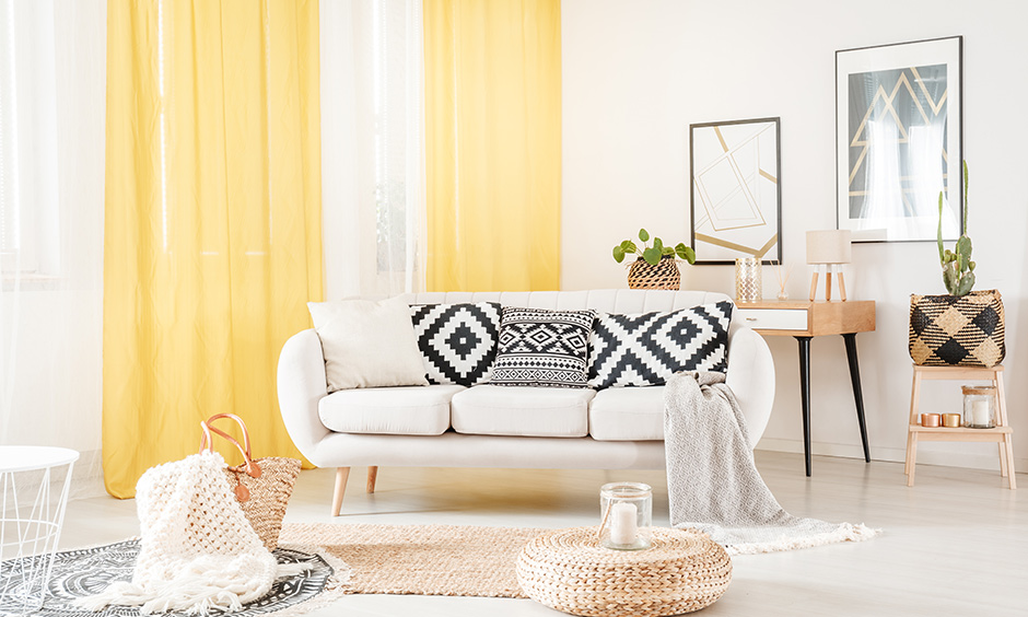 Yellow colour simple curtain design for living room look spacious, well-lit and airy