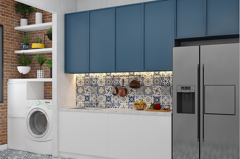 Practical modern kitchen cabinet design with cabinets on top and the base
