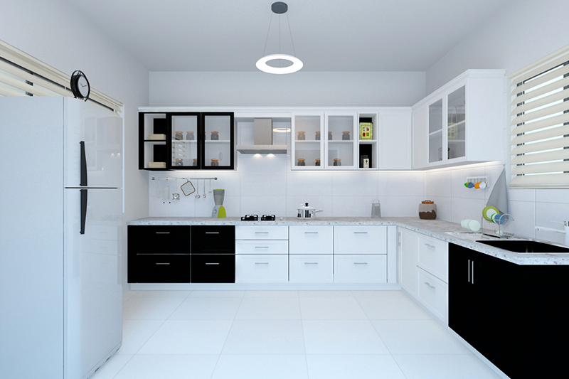 Monochrome modern kitchen cabinets pictures in black and white with classic colour scheme