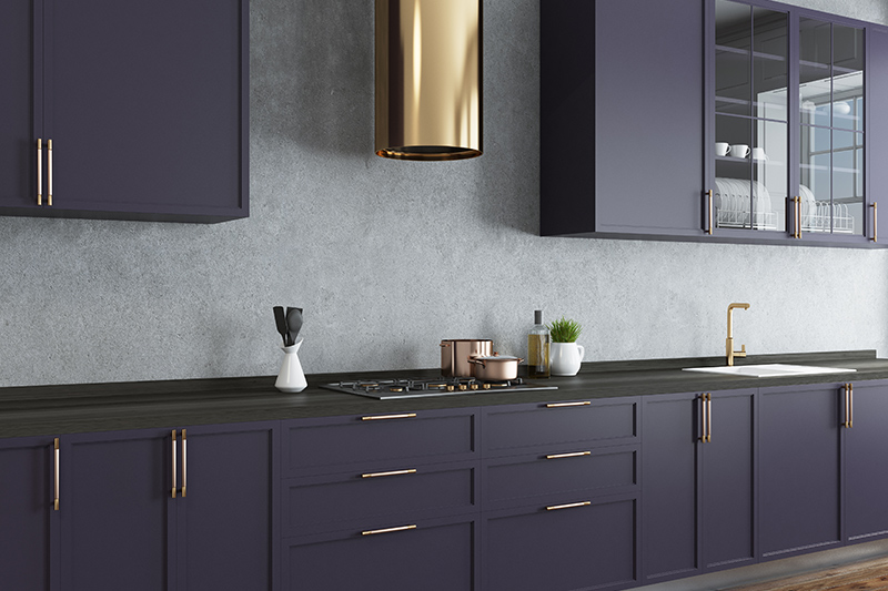 Elegant modern kitchen cabinets images with a a matte finish with gleaming copper detailing