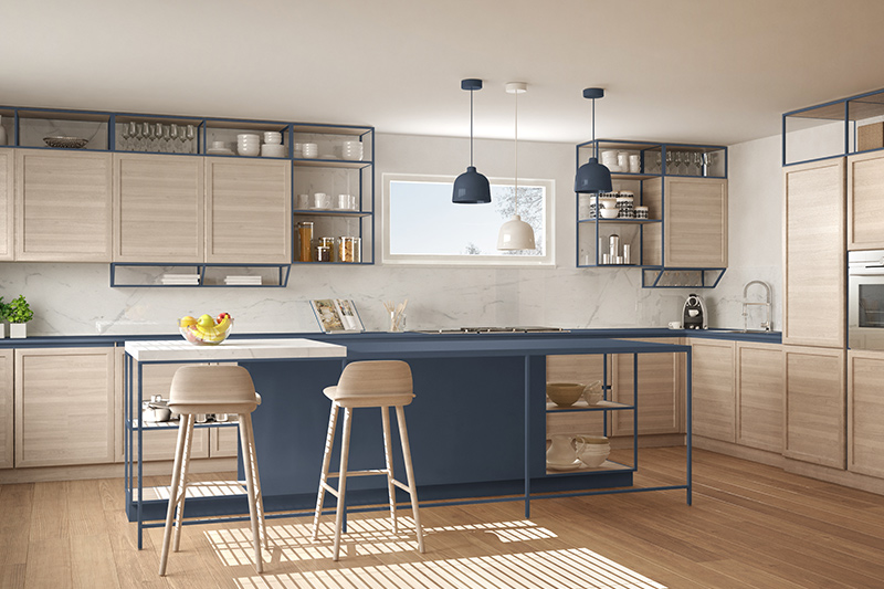 Modern white kitchen cabinets with kitchen racks and solid cabinets