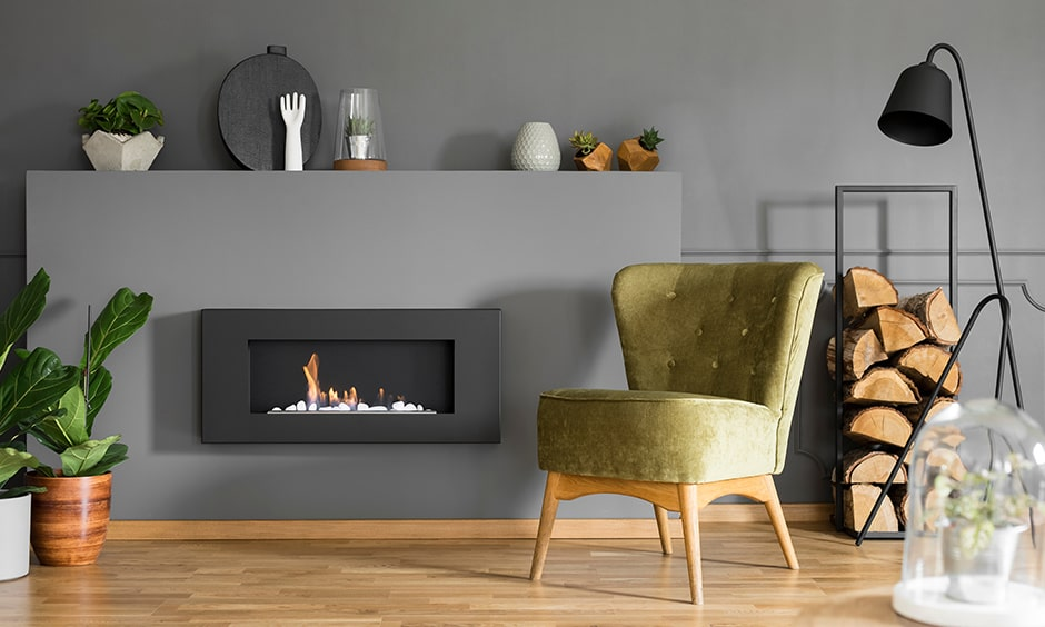 Minimal fireplace design is suitable for small spaces