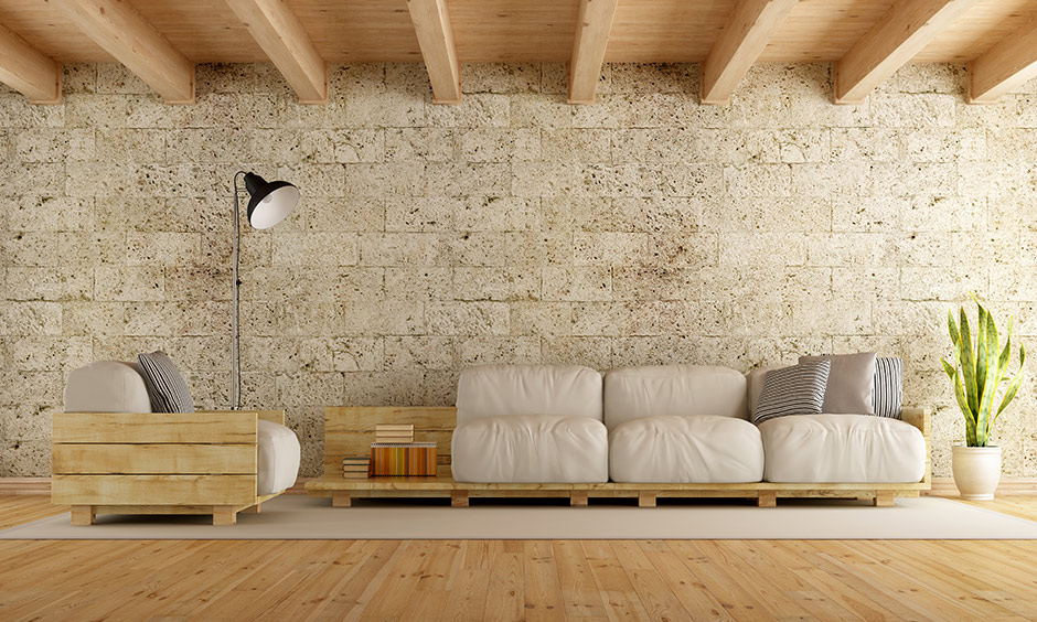 Modern and rustic living room crafted from wood and stone