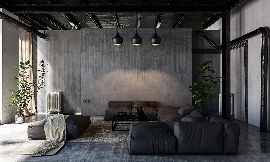 Rustic ceiling lights for living room with industrial touches with plush sofas and seating options for rustic living room