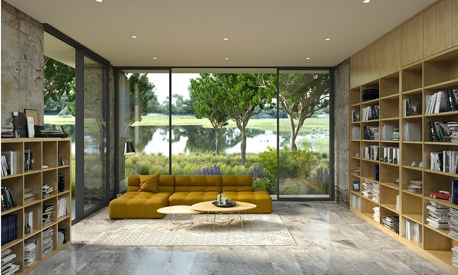 Home library design with a large spaced library with bay window for light