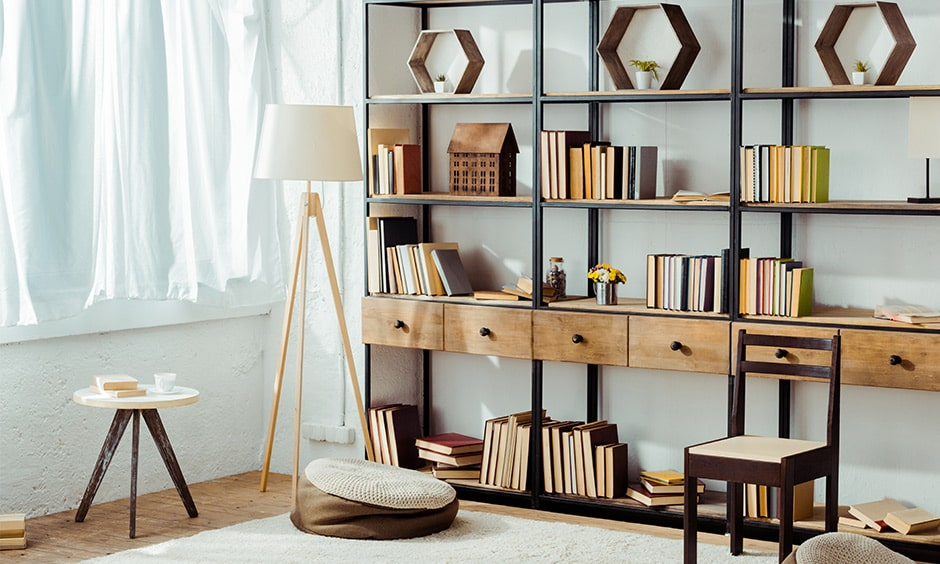 Library design ideas with a comfy woven bean bag for indian homes