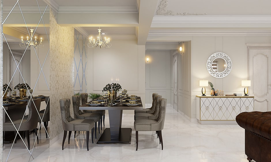 Dining room decor ideas with mirrors makes your dining room look larger and airier