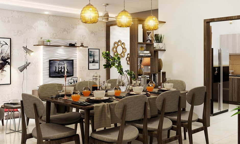 Dining room decor with designer lights as major focal point