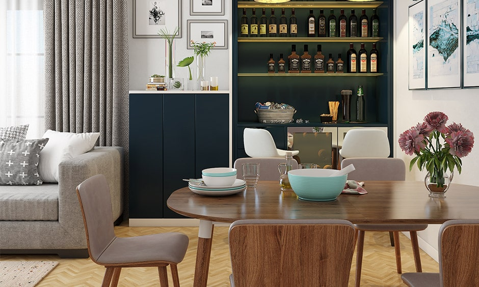 Dining room decor ideas with a personal bar with collection of single malts and fine wines