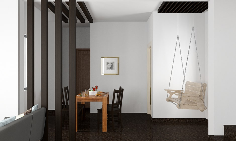 Dining room decor with a swing in this dining room