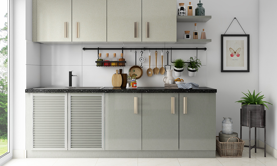 Louvered  sunmica colour combination kitchen cabinet doors for your home
