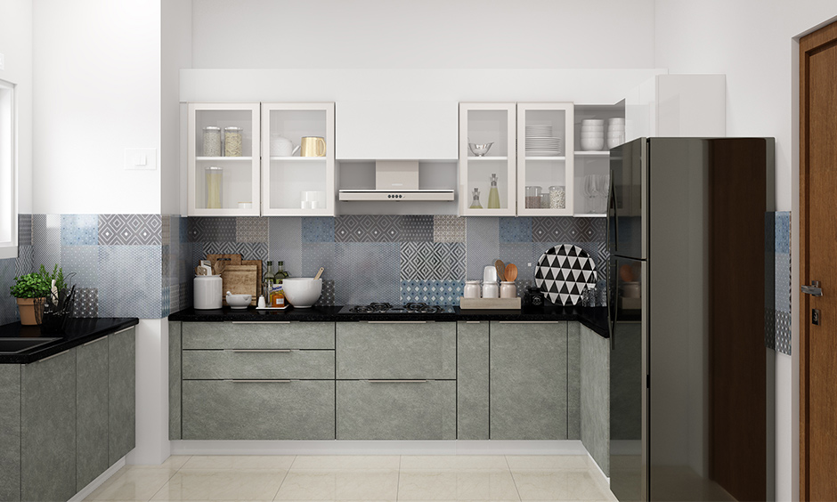 Glass designs for kitchen cabinet doors where you can display pieces of kitchenware or dinnerware