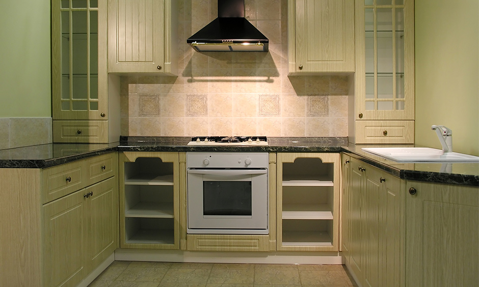 Beadboard frosted glass kitchen cabinet doors which looks relevant and stylish