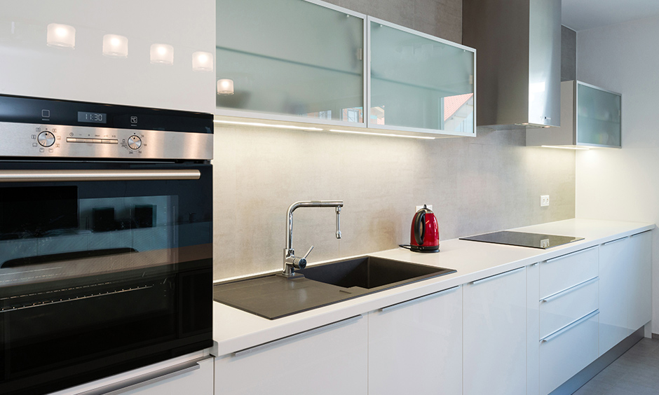 Slab aluminium sliding door for kitchen cabinet which is super easy to clean and maintain