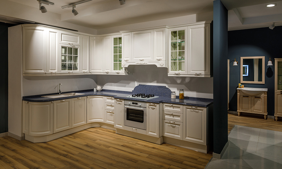 Raised panel kitchen 2 door cabinet which can blend well with a modern-elegant kitchen design