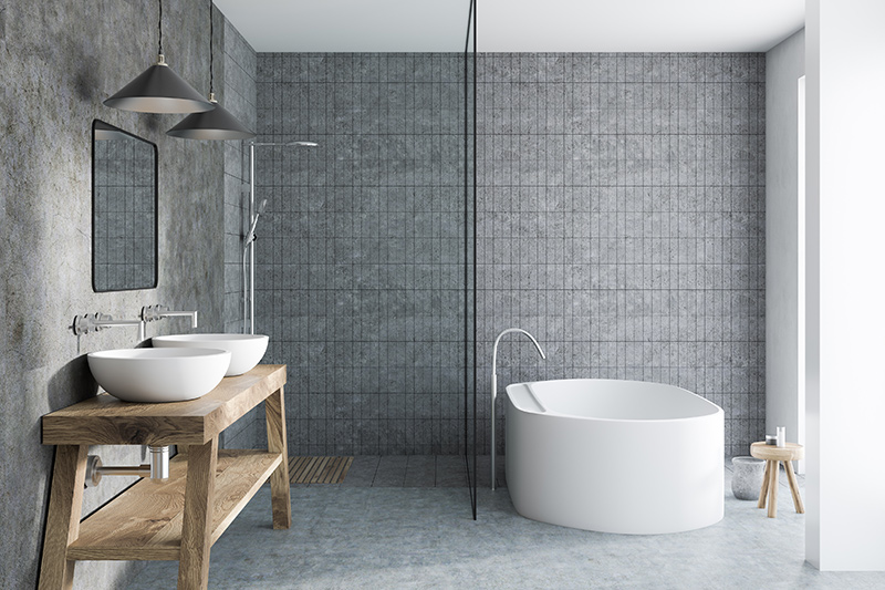 Bathroom floor tile design with a patterned cement tiles make for a bonny bathroom