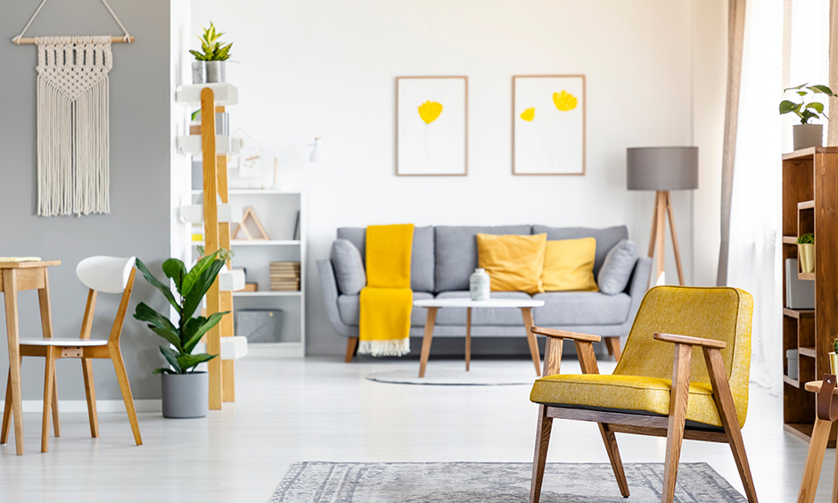 Incorporate throws, cushions, pieces of furniture, to bring in the soothing colour of mustard yellow living room