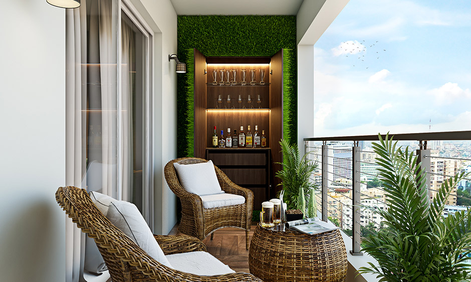 Best small balcony design, Add hidden bar with a pair of bar stools and pendant lights to give yourself a cool lounge!