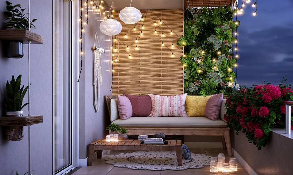 Small balcony decor add string lights, fairy lights or outdoor lanterns to appear a lot bigger and jazz up your space
