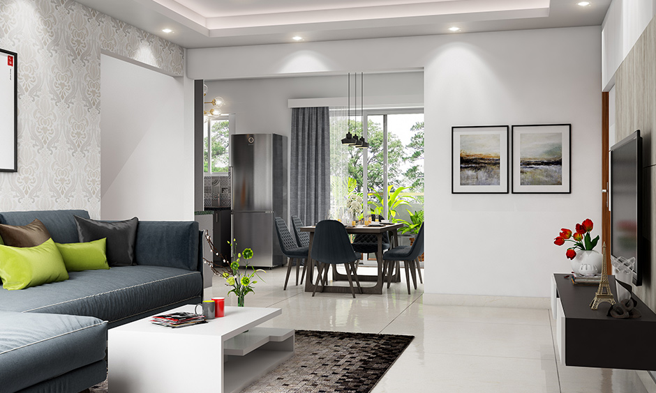 Fun with white living room furniture with dark grey sofas that contrast and look fabulous against a white wall