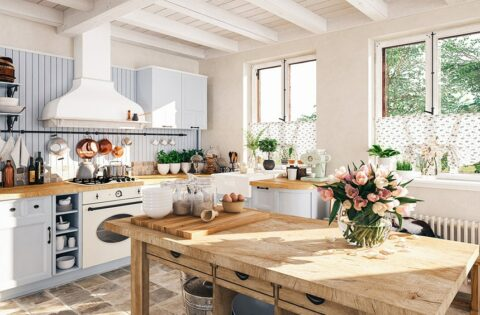 Vintage kitchen in a country style kitchen with a retro touch
