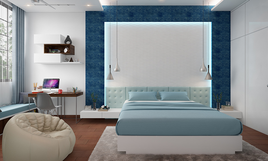 Bedroom wall colors according to Vastu While blue symbolises water and brings to mind the calm seas and vastness of the sky