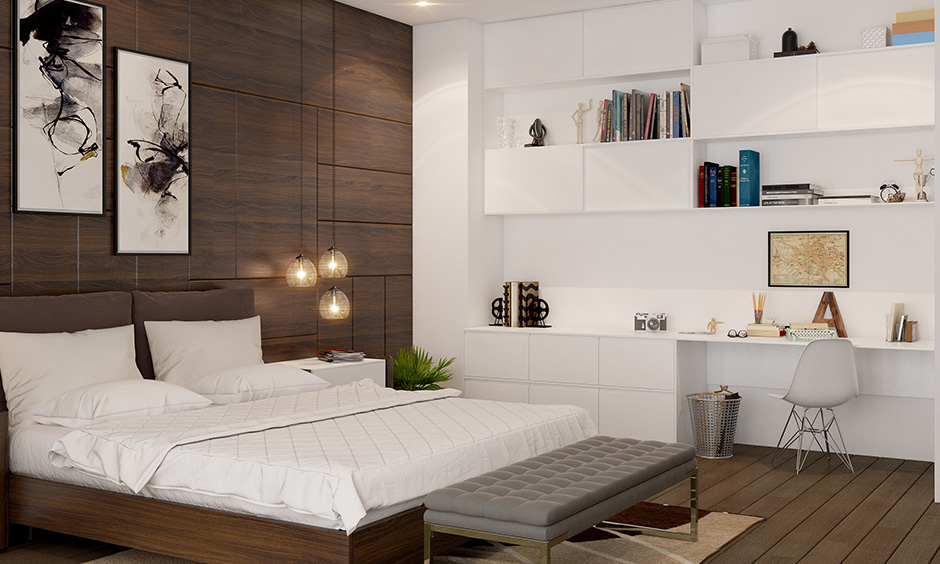 Brown Vastu colors for master bedroom instead of going for wall paint, installing plywood on the wall trendier choice.