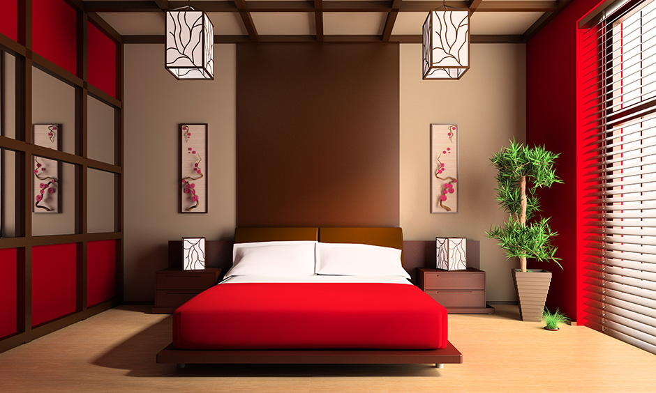 Red universally represents love, and brown represents stability are colour combinations for the bedroom according to Vastu.