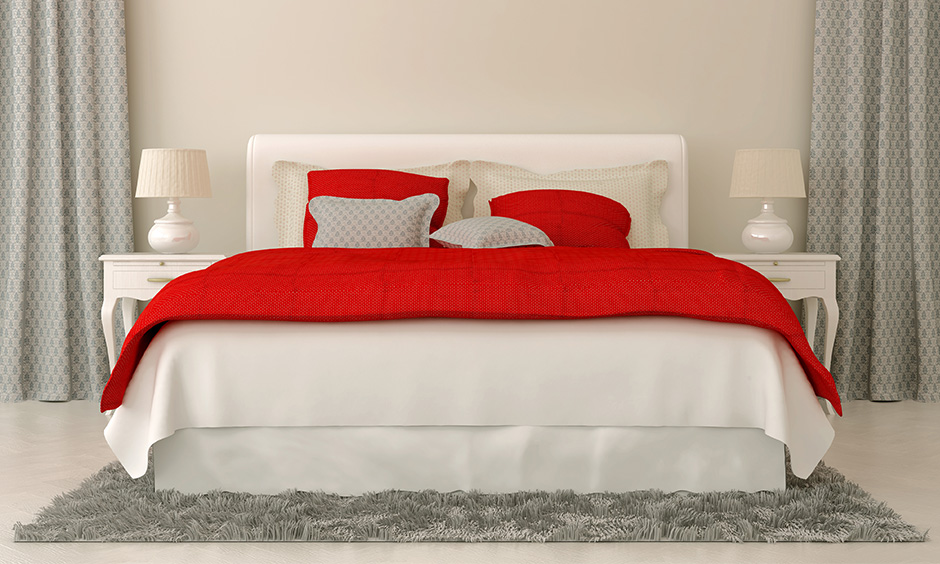 Vastu Shastra bedroom colour red bedding and mellow is an actual colour that works as a stimulant.