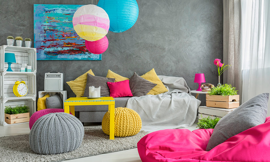 Vibrant bohemian interior design where that pops in pink, yellow and blue