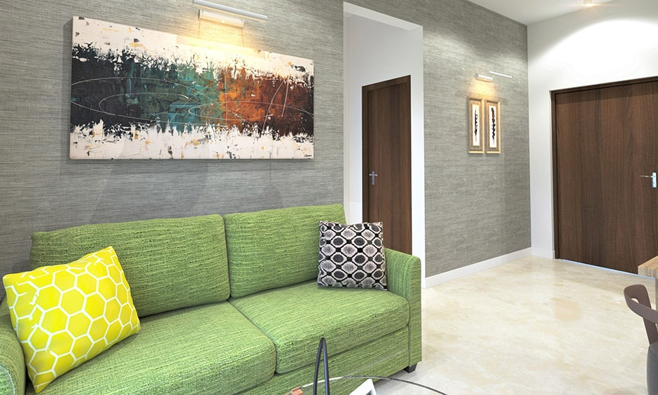 Grey living room images for indian homes with green coloured sofa