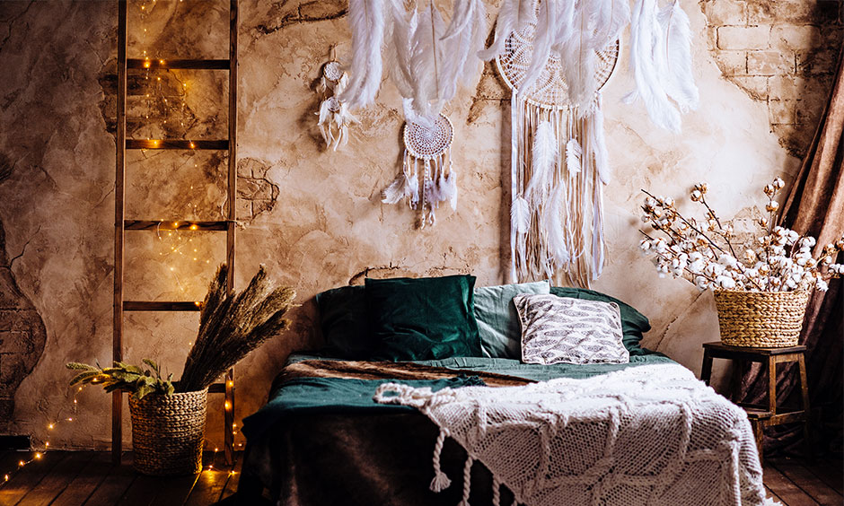 Bohemian interior design which is layered be it colours, prints or textures