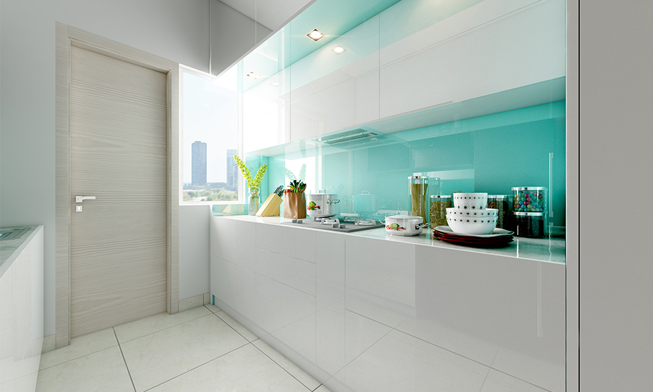 Aqua blue and white combination kitchen, Aqua blue kitchen images is often used for emotional healing and most sought-after colour themes.